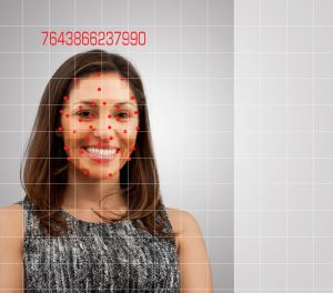 Facial recognition of smiling mixed race woman